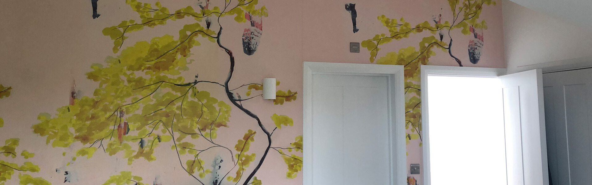 Pink Feature Wall with Tree Branch Wall Paper